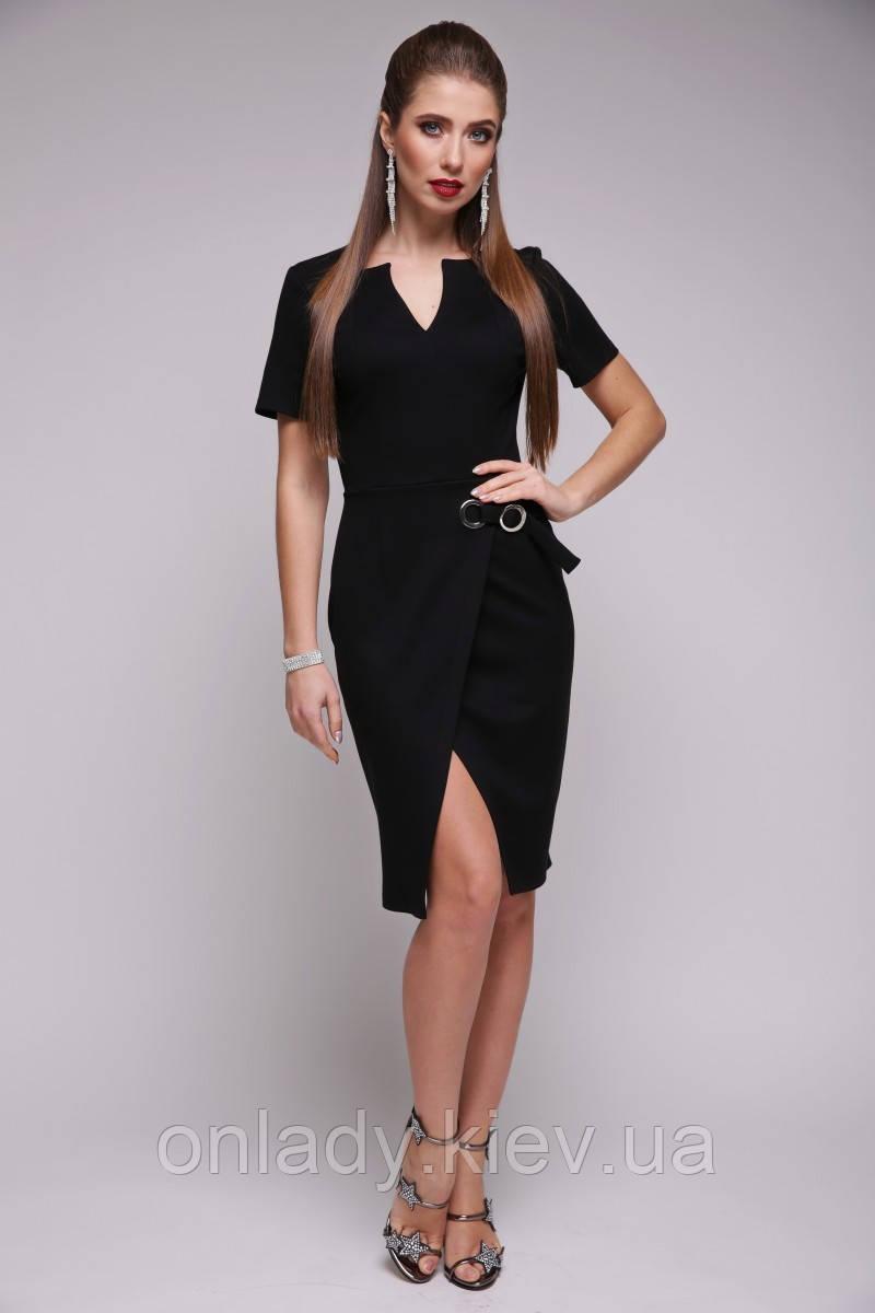 f99ff7d2492 Черное модное платье с коротким рукавом (S)