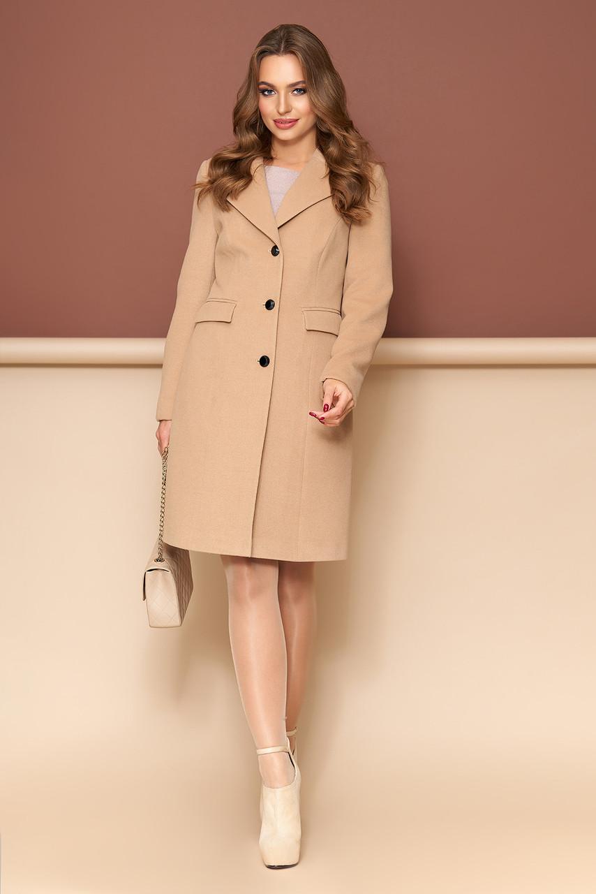 Женское пальто из кашемира классическое демисезонно бежевое