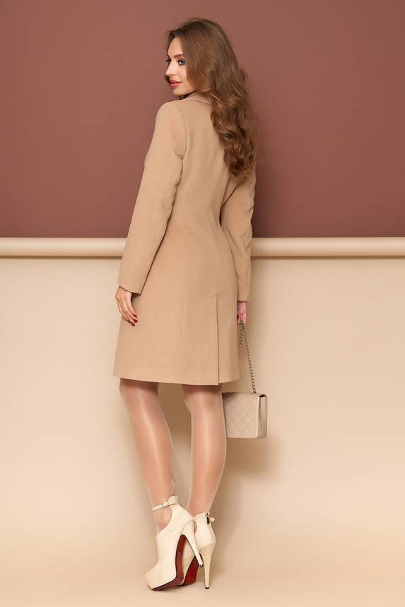 Женское пальто из кашемира классическое демисезонно бежевое, фото 2