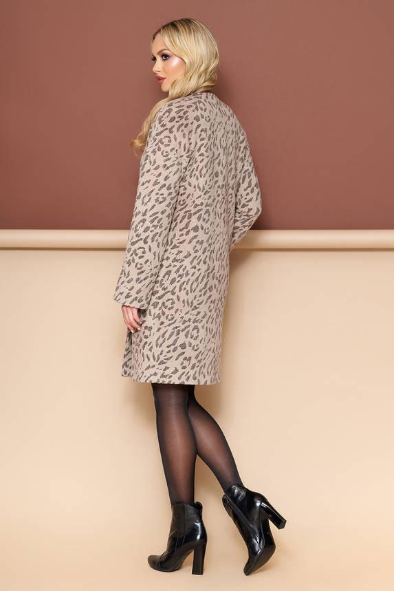 Модное леопардовое шерстяное пальто весна-осень, фото 2