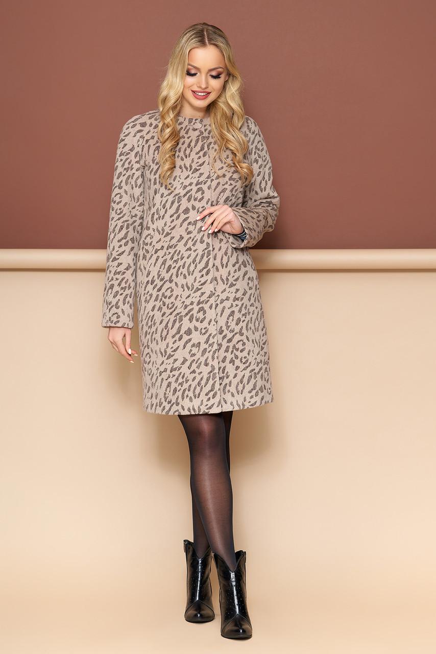 Модное леопардовое шерстяное пальто весна-осень