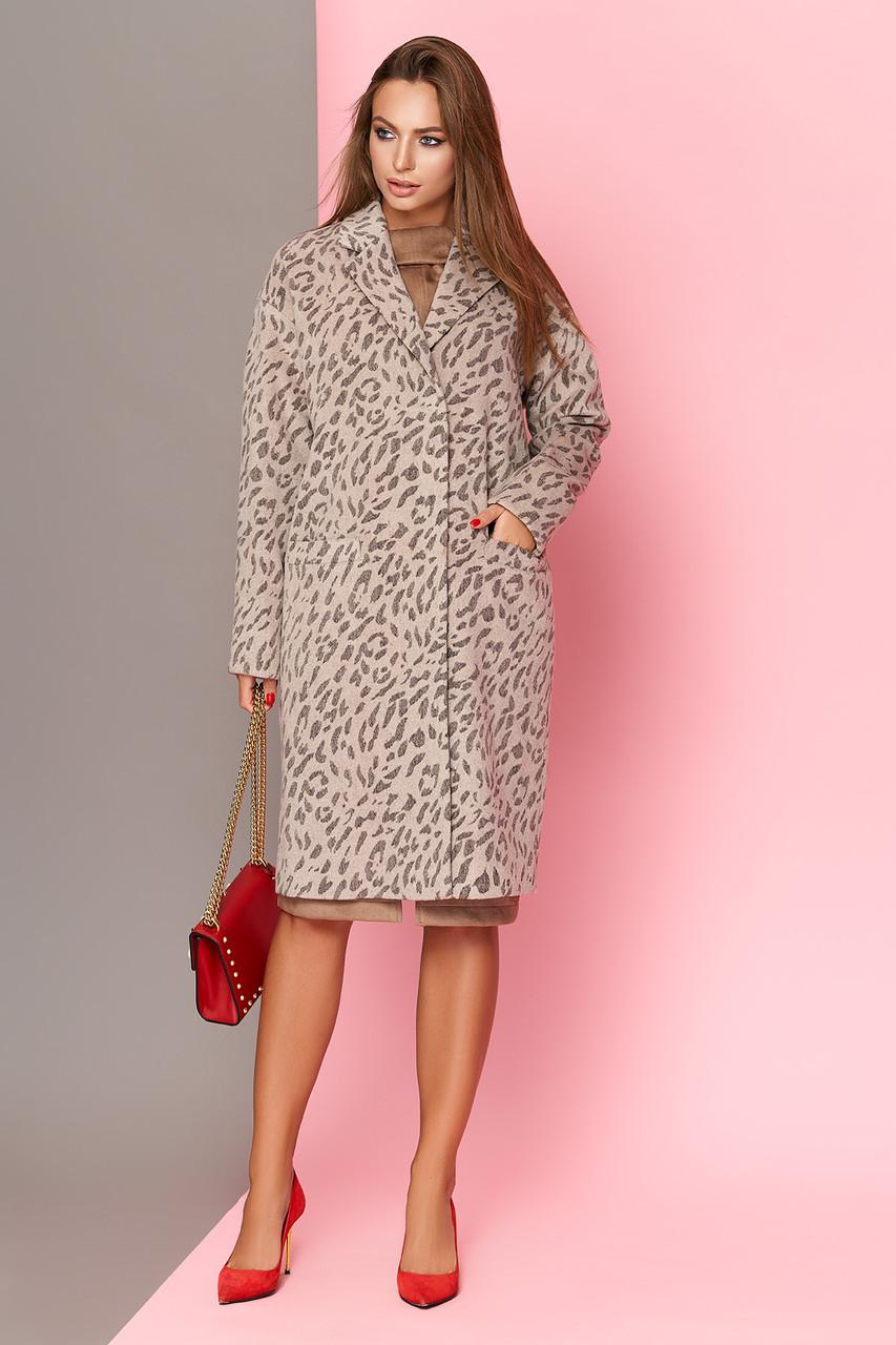 Женское леопардовое пальто шерстяное весна-осень