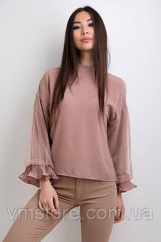 Блузка с длинным сетчатым рукавом