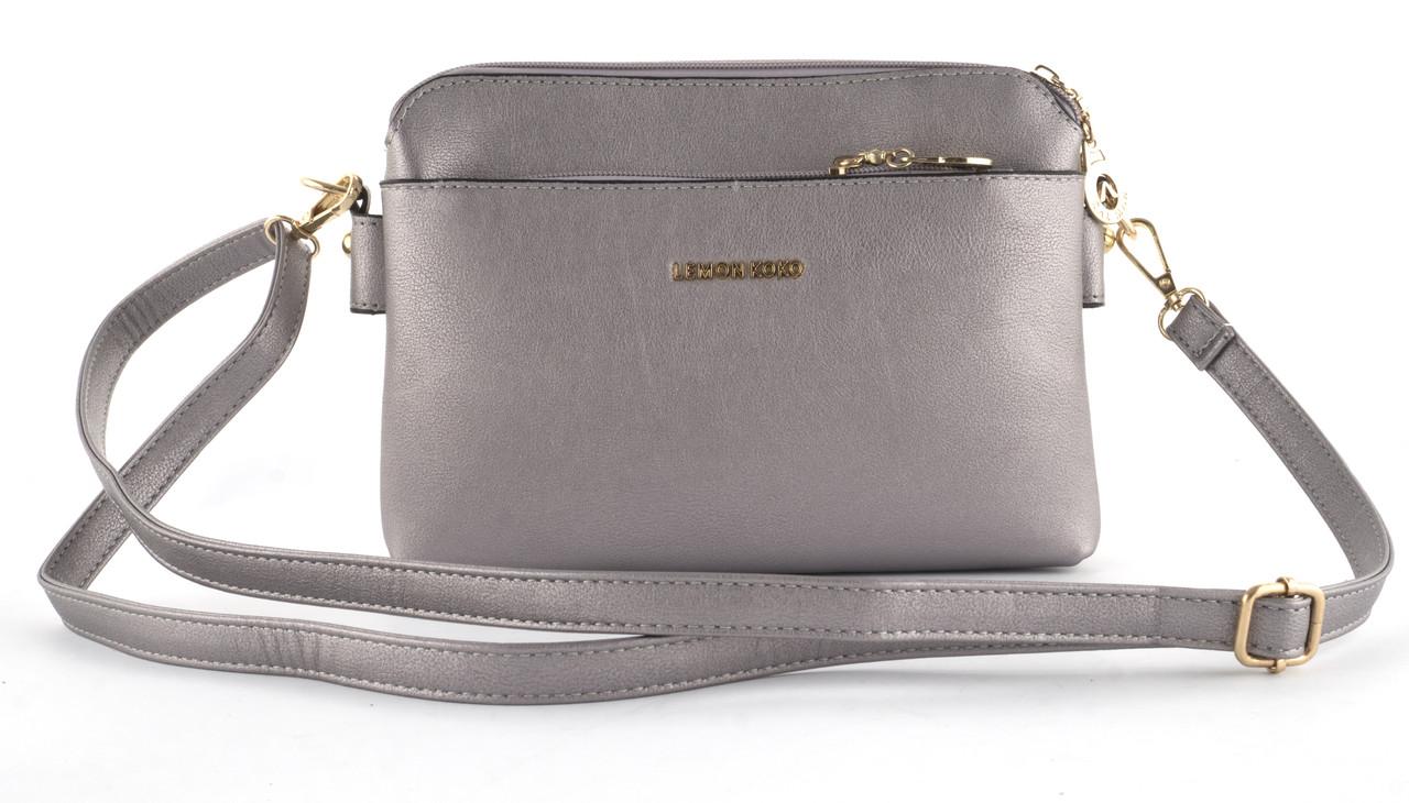 Небольшая аккуратная прочная женская сумочка почтальонка с очень качественного заменителя кожи art 3014 бронз