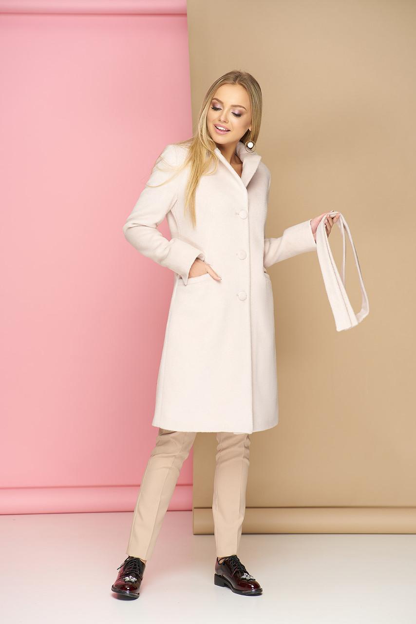Классическое демисезонное шерстяное пальто молоко