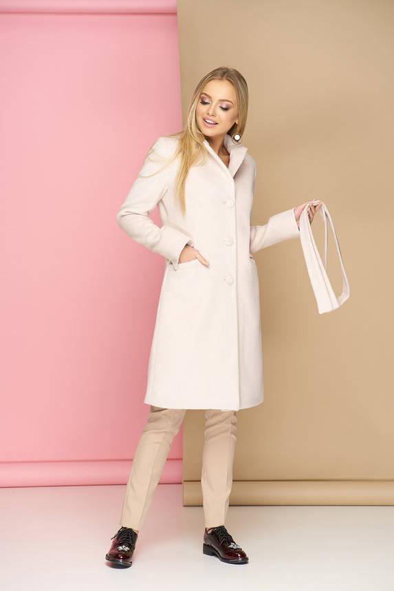Классическое демисезонное шерстяное пальто молоко, фото 2