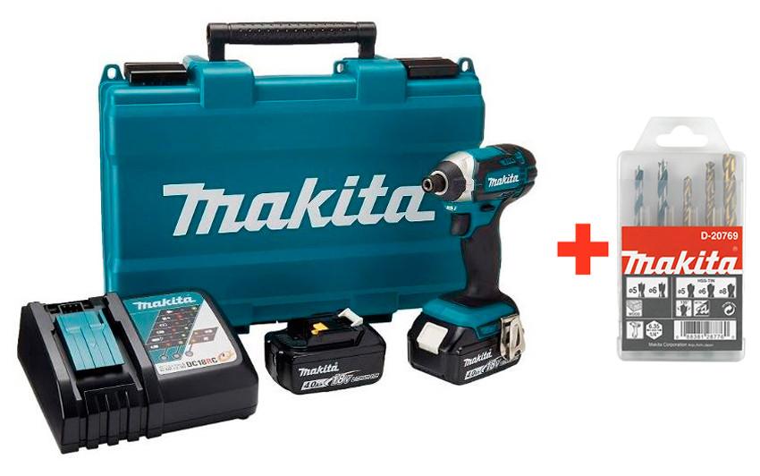 Аккумуляторный ударный шуруповерт Makita DTD152RME + 2 акб 18 V 4 Ah + з/у + кейс + набор сверл 5 шт