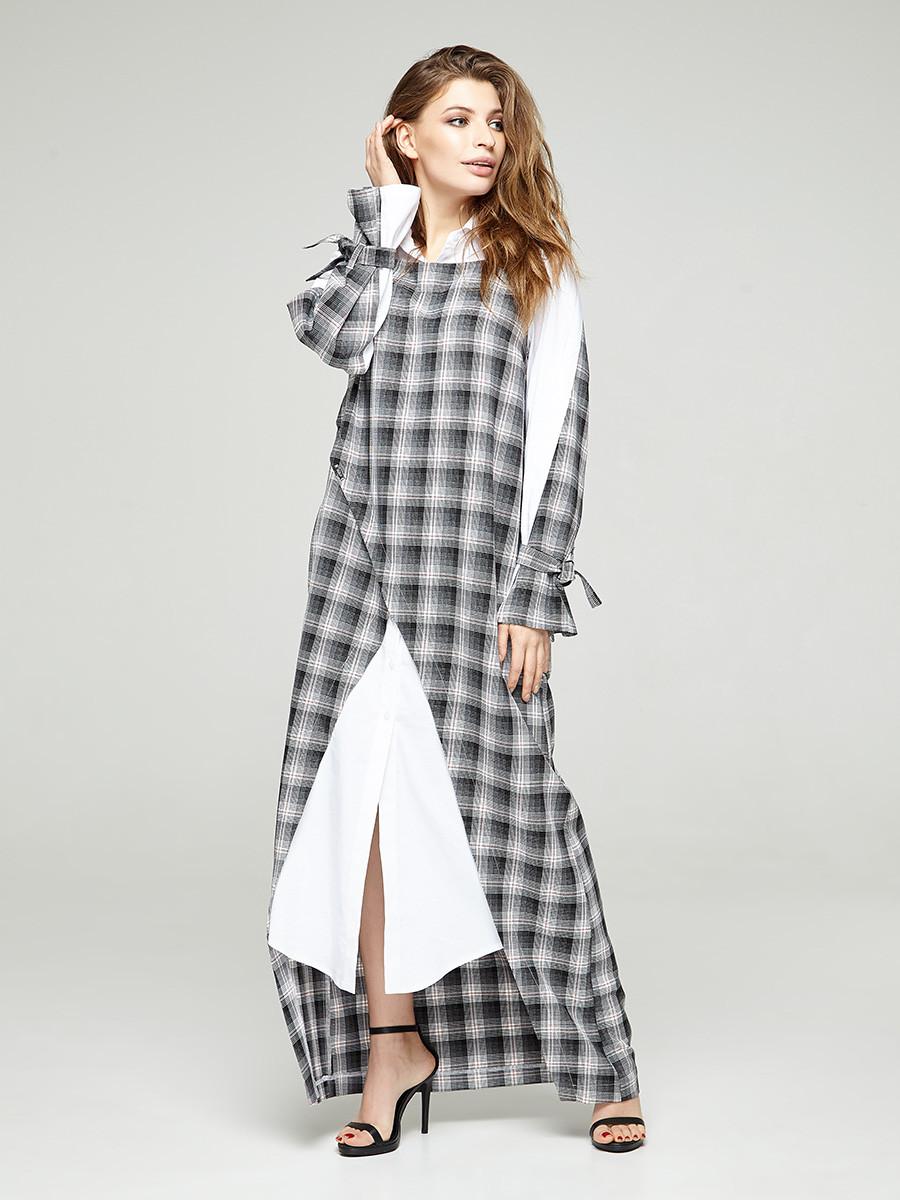 2311 платье Джели клетка, белый (S)