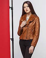 Стильная женская коричневая куртка демисезонная из экокожи (разм 42-46) b44d33f4c3930