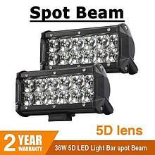 Автофара LED (12 LED) 5D-36W-SPOT прямоугольная автофара 36W на 6 ламп