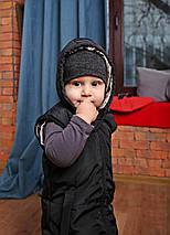 Весенняя детская жилетка с капюшоном черного цвета, фото 2