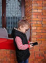 Весенняя детская жилетка с капюшоном черного цвета, фото 3
