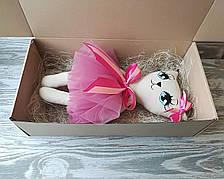 Игрушка кошка в бледно-вишневом платье  ручная работа hand made