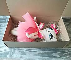 Игрушка кошка в кораkловом платье с бежевым бантиком ручная работа hand made, фото 3