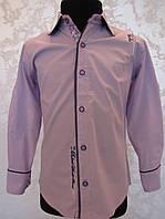 Нарядная рубашка для мальчиков 110,128 роста лиловая