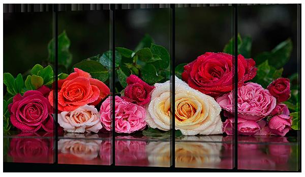 Модульная картина Interno Эко кожа Розы разноцветные 133х73см (A478М)