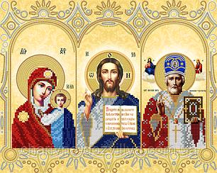 """Схема для вышивки бисером на атласе (религия) """"Домашний иконостас"""" (золото)"""