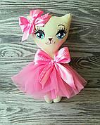 Игрушка кошка в розовом платье с бантиком в горошек ручная работа hand made
