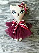 Игрушка кошка в темно-бордовом платье  ручная работа hand made