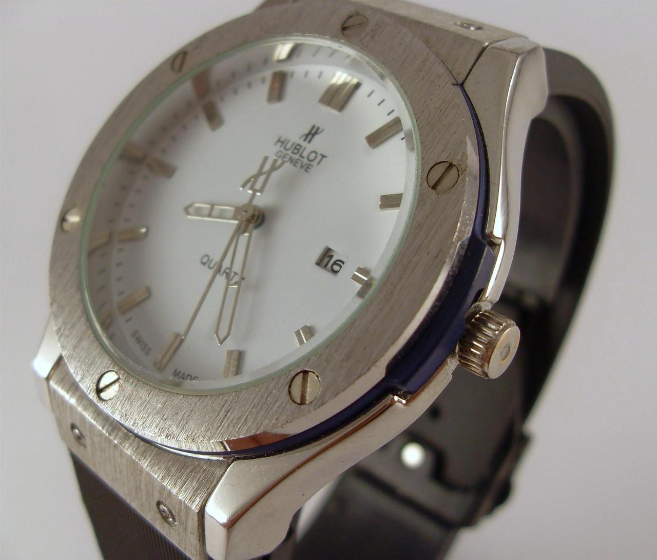 f4dee7ad59ea Мужские наручные часы Hublot Geneve 012864 черные с серебром белый  циферблат копия