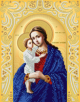 """Схема для вышивки бисером на атласе икона """"Богородица Взыскание погибших"""" (золото)"""