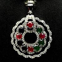 Серебряная Подвеска с Натуральными Рубинами Изумрудами Сапфирами и Cz