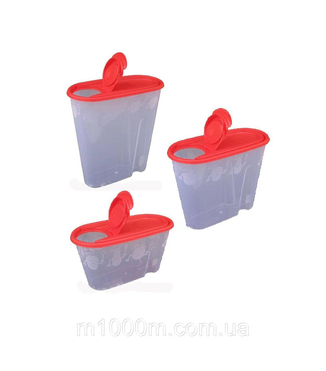 Прозрачный контейнер для сыпучих продуктов с крышкой клапаном