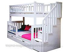 """Двухъярусная кровать семейного типа """"Альбинос Макси """"с ящиками ступеньками и бортиками, фото 3"""