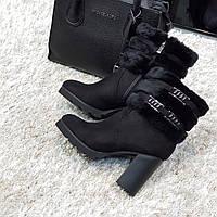 Полусапожки женские зимние черный замш на каблуке