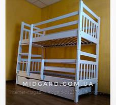 Кровать двухъярусная трансформер Стандарт с ящиками и бортиками массив, фото 2