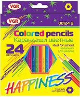 Карандаши цветные VGR Happines 24 цвета