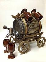 """Керамическая сувенирная """"Винная бочка"""" 3 л. на деревянной тележке с керамическими стаканчиками"""