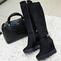Ботфорти чоботи жіночі зимові штучна замша та штучне хутро чорні на танкетці