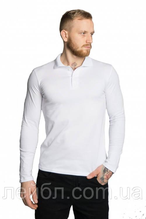 Чоловіча футболка поло з довгим рукавом, біла, розмір М-3XL