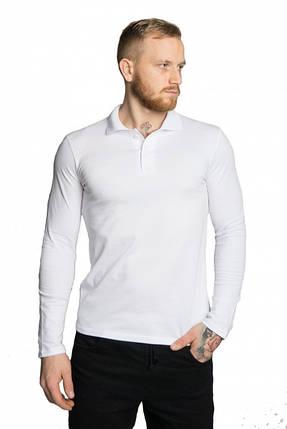 Чоловіча футболка поло з довгим рукавом, біла, розмір М-3XL, фото 2