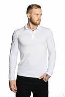 Мужская футболка поло с длинным рукавом белая