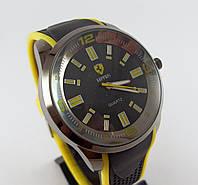 Наручные часы Ferrari S-200 черные с желтыми вставками копия, фото 1