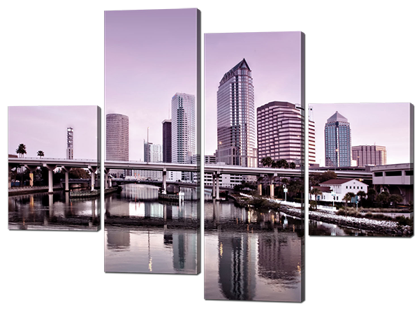 Модульная картина Interno Эко кожа Высотки и мост 146x108см (A482L)