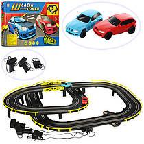 Авто трек Шальные гонки работает от сети, длинна трассы 405 см, соревнование двух машинок,02989