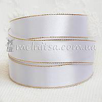 Атласная лента с люреском 2,5 см, белая