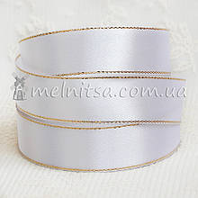 Атласная лента с люреском 2,5 см, молочная+золото