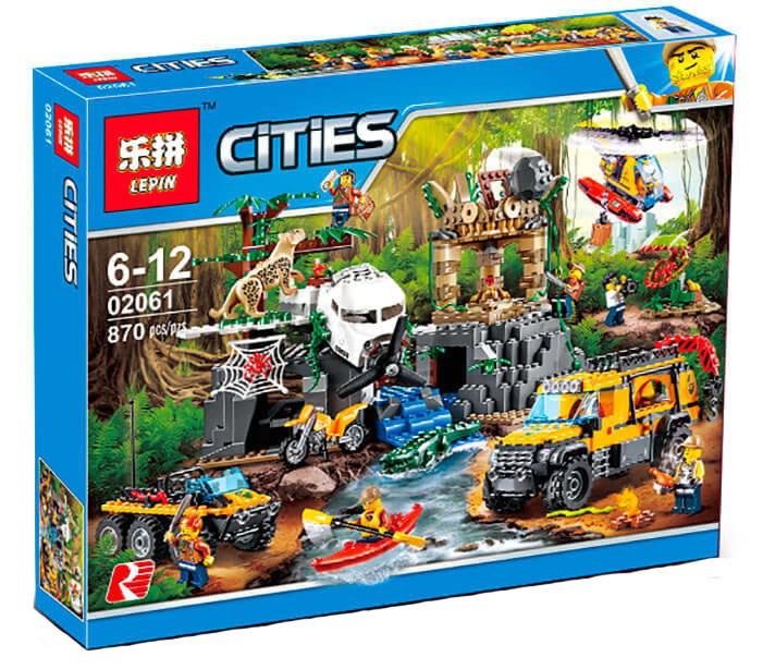 """Конструктор Lepin 02061 """"База исследователей джунглей"""" Сити, 870 деталей. Аналог LEGO City 60161"""