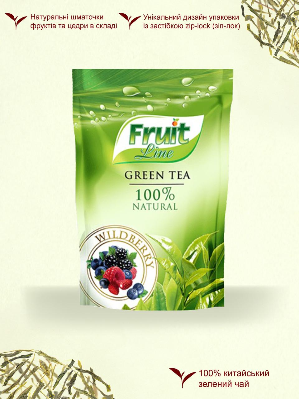 Чай зеленый '''Fruit Line'' листовой ''Лесная ягода'' 80г м/у