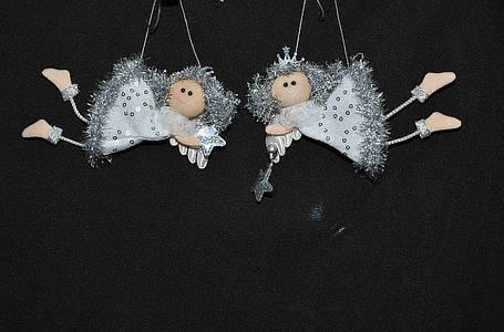 Новогодние украшения Ангелочек  летящий  м  серебро 0075, фото 2