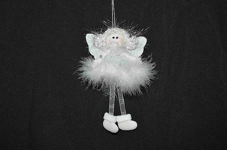 Новогодние украшения Ангелочек  пух платье  валеночки бел   0078, фото 2