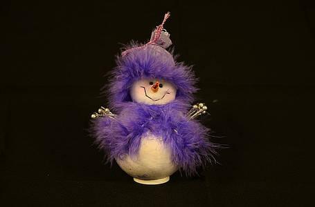 Новогодние украшения Снеговик большой стоящий сиреневый  0260, фото 2
