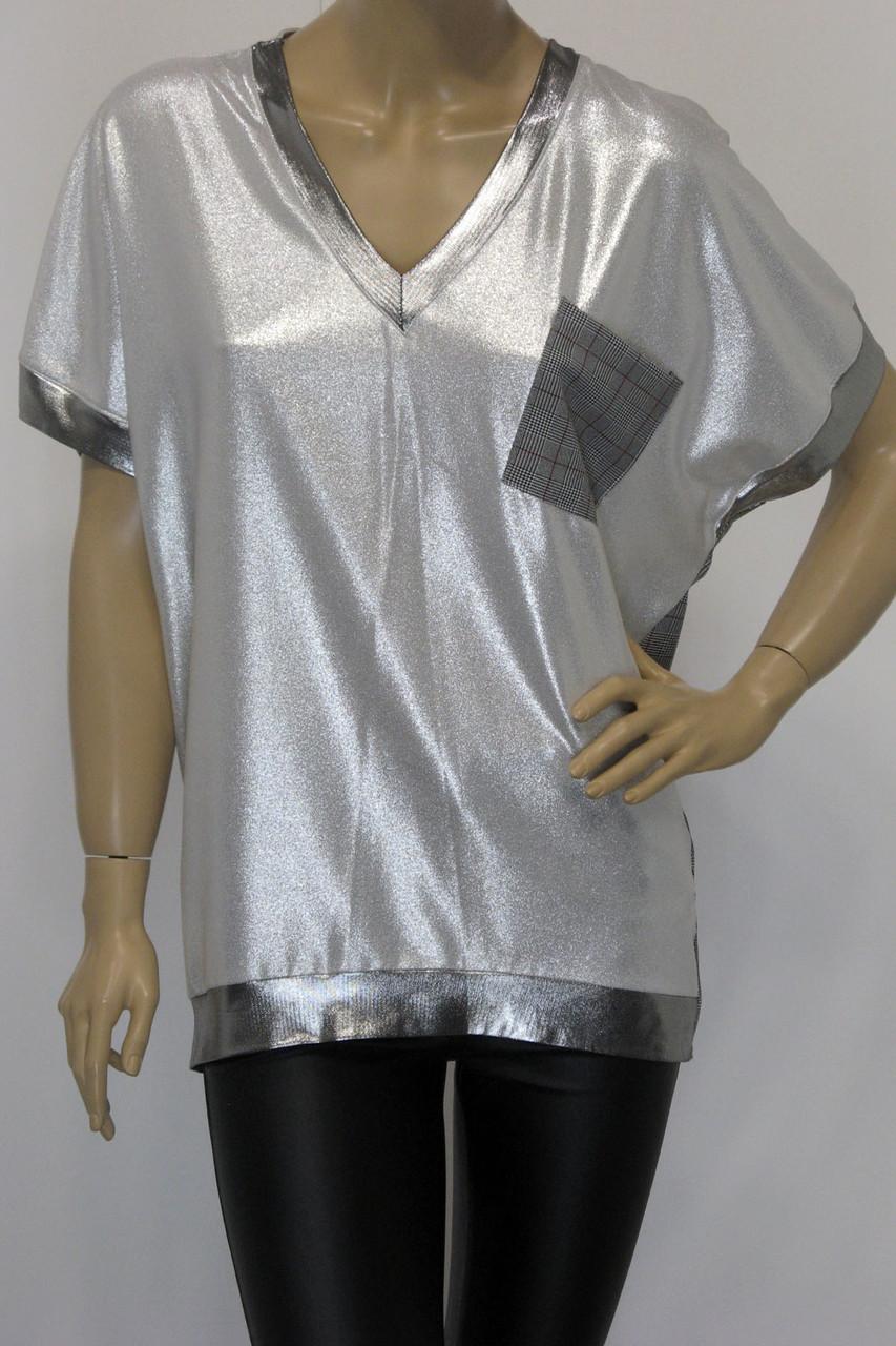 Женская футболка больших размеров люрекс серебро