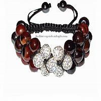 Тройной браслет Shamballa с сердоликом, гематитами  и стразами