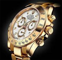 Часы Rolex Daytona White кварцевые мужские (ролекс) золото с белым циферблатом, фото 1
