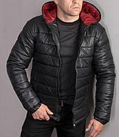 Мужская дутая куртка черная с капюшоном на синтепоне.